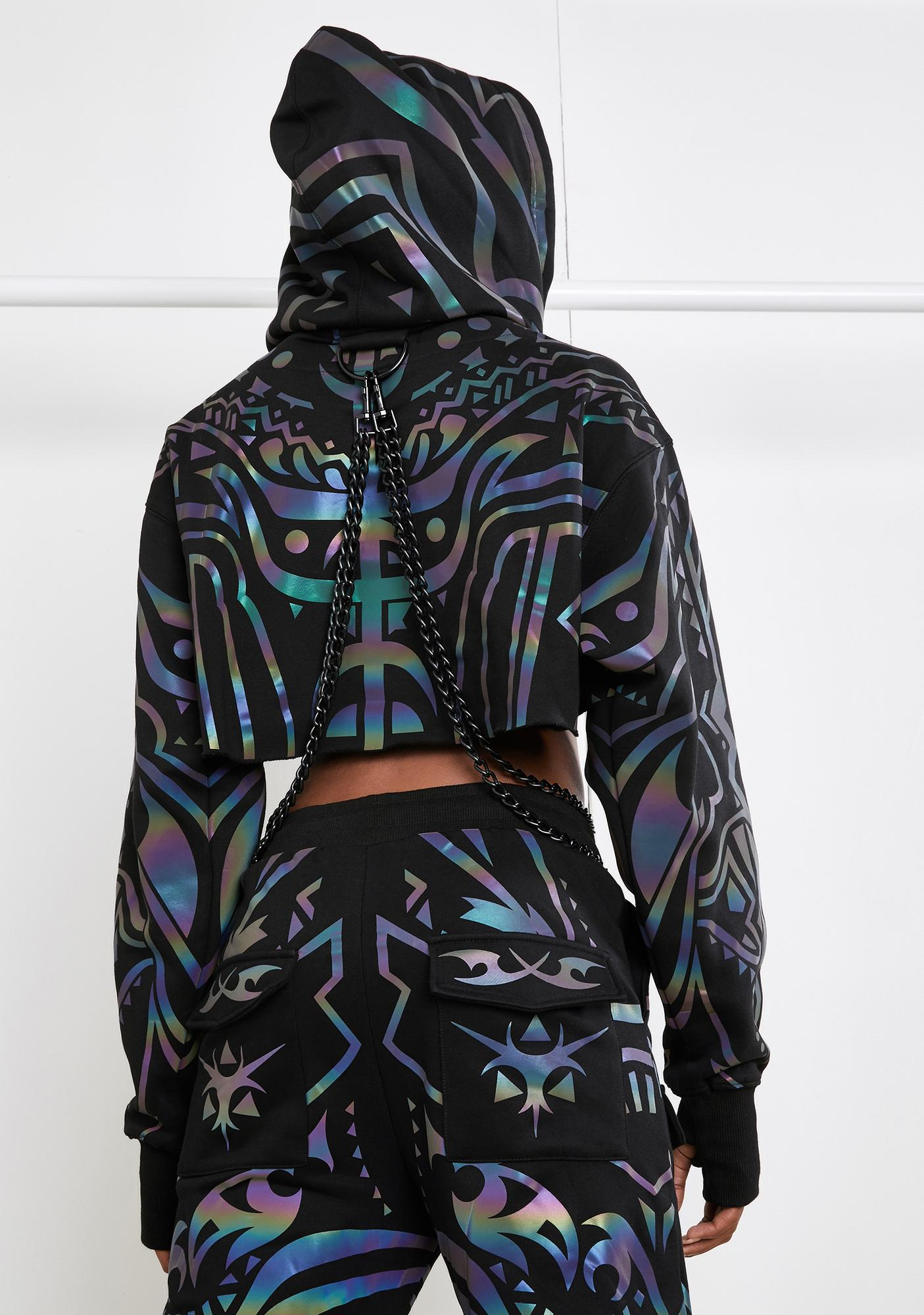 Club Exx Moon Labyrinth Reflective Chain Hoodie