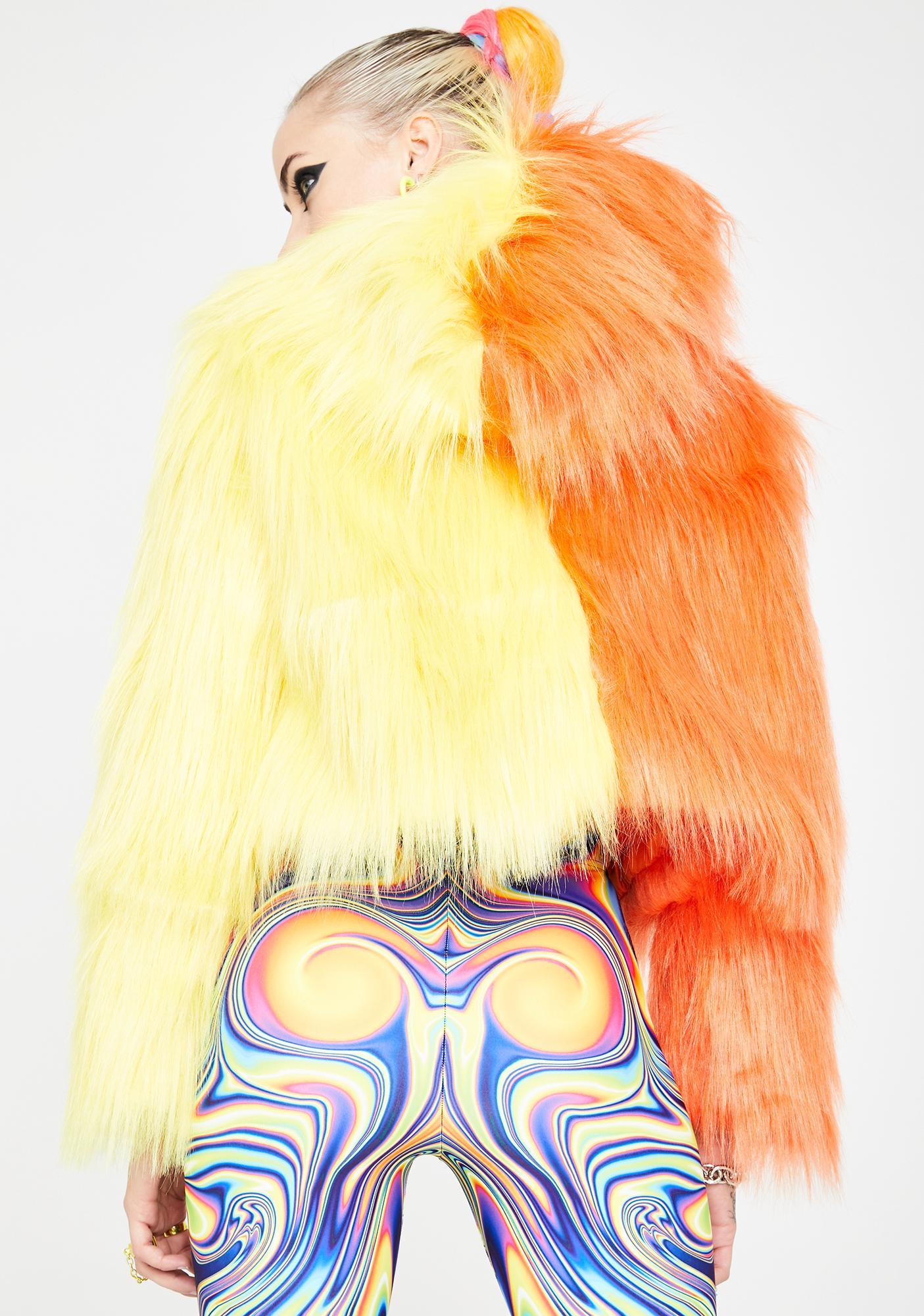 Ivy Berlin Orange Yellow Split Faux Fur Jacket