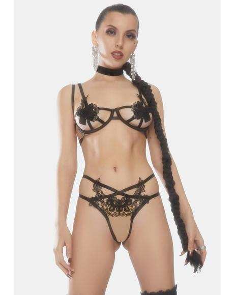 Roza Open Cup Applique Bralette Set