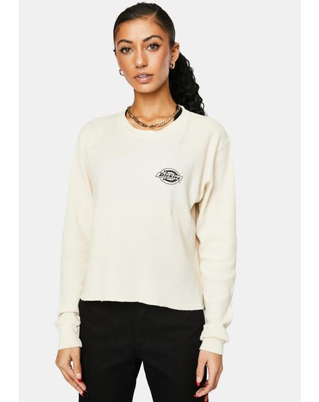 Long Sleeve Crop Lounge Thermal Tee