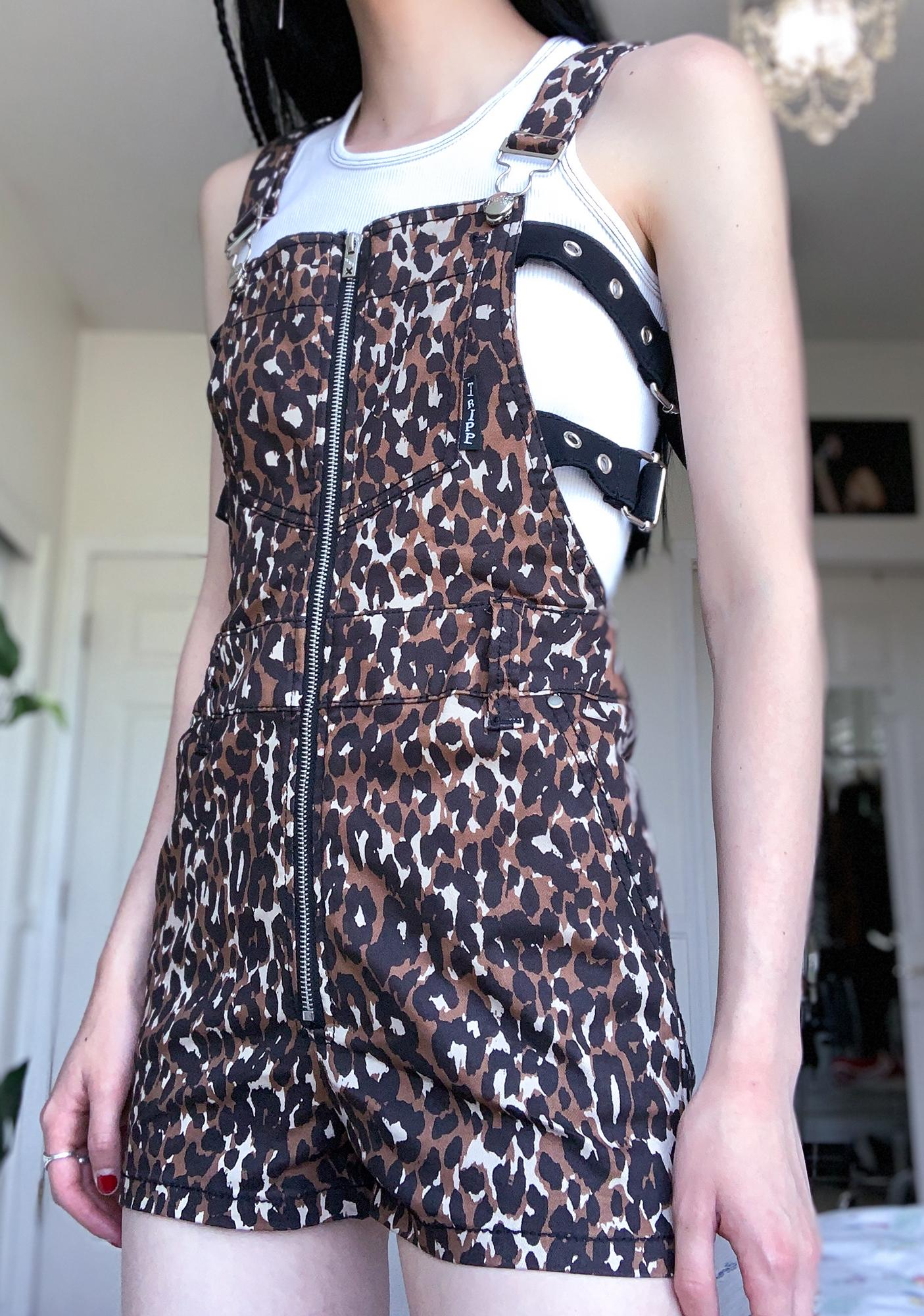 Tripp NYC Leopard Buckle Overall Shorts