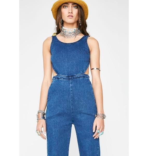 So Snatched Denim Jumpsuit