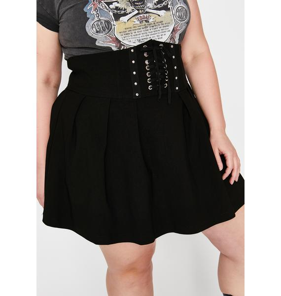 Slick She's Fatally Obsessed Lace Up Skirt
