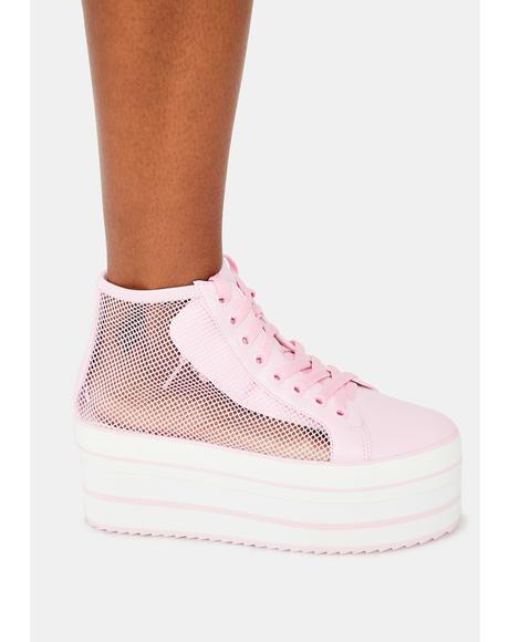 Pink Elevation Mesh Platform Sneakers