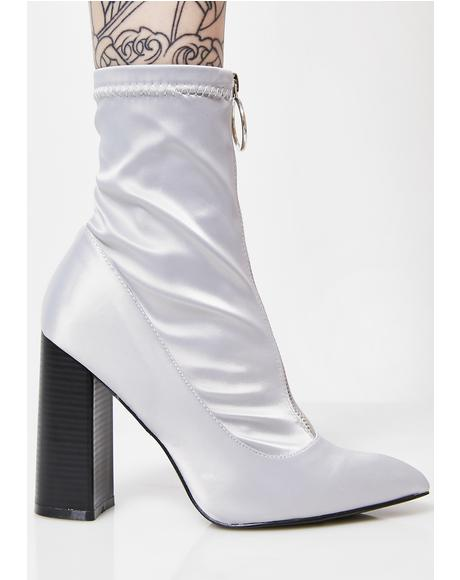 Gloomy Sceptic Zip Front Lycra Ankle Boots