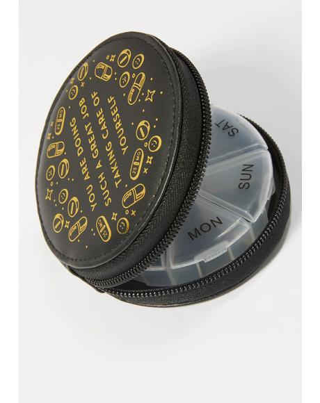Noir 7 Day Gold Foil Pill Case