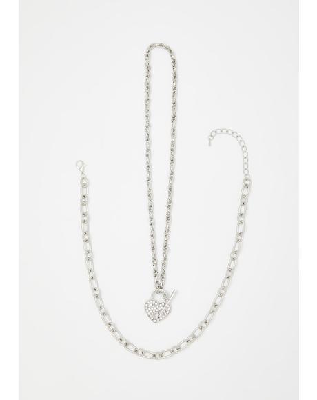 Frozen Heart Necklace Set