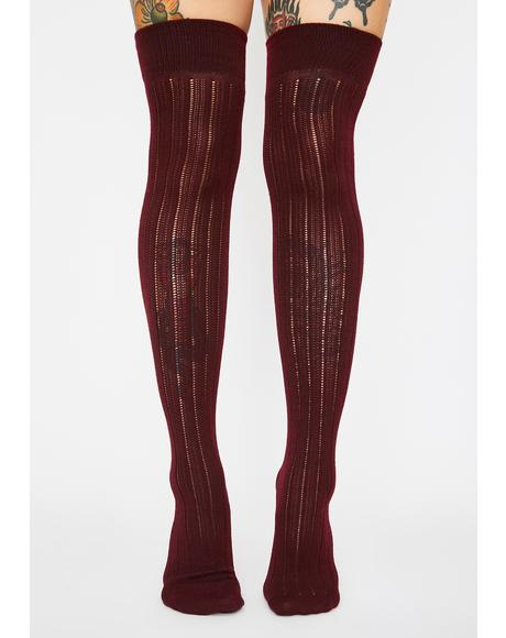 Merlot Finally Playtime Knee High Socks