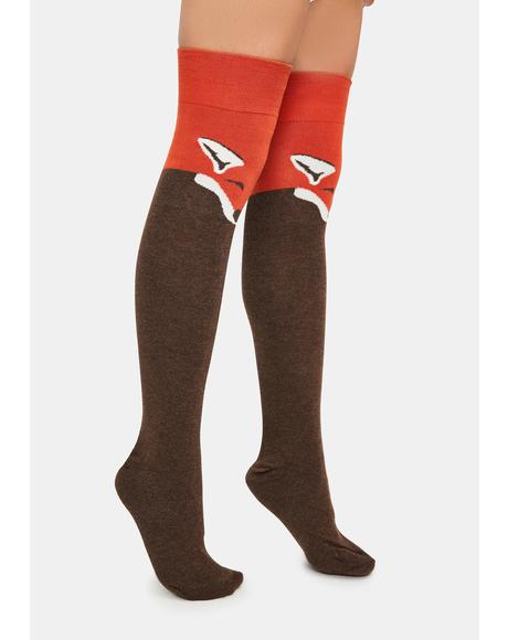 Fox Thigh High Socks