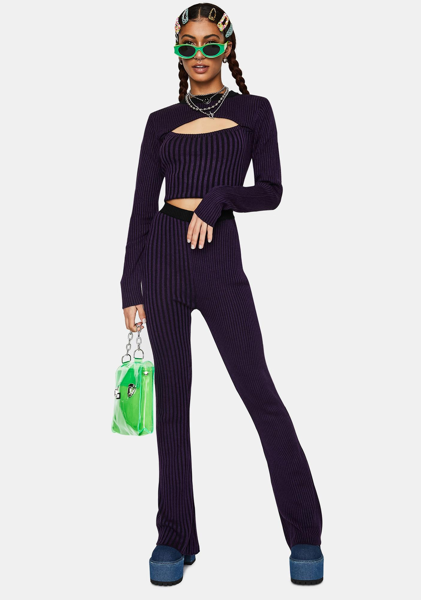 The Ragged Priest Inspire Striped Knit Flare Pants