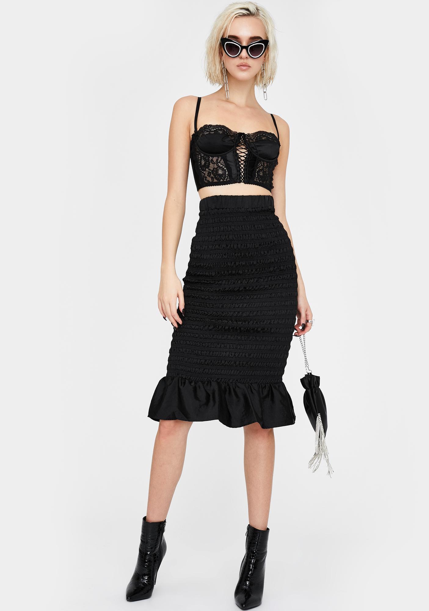 Glamorous Black Satin Peplum Mini Skirt