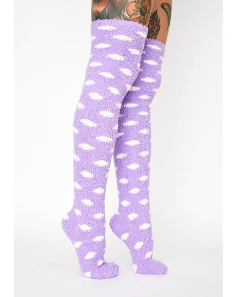 Plum Cloud Climber Knee High Socks