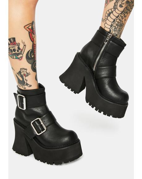 Stomper Buckle Platform Boots
