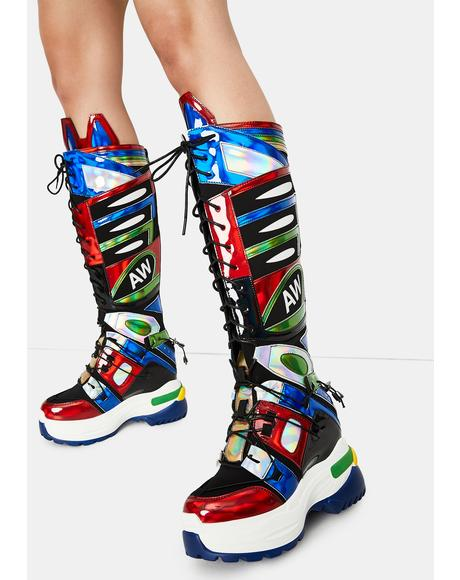 Oval Wedge Sneaker Boots