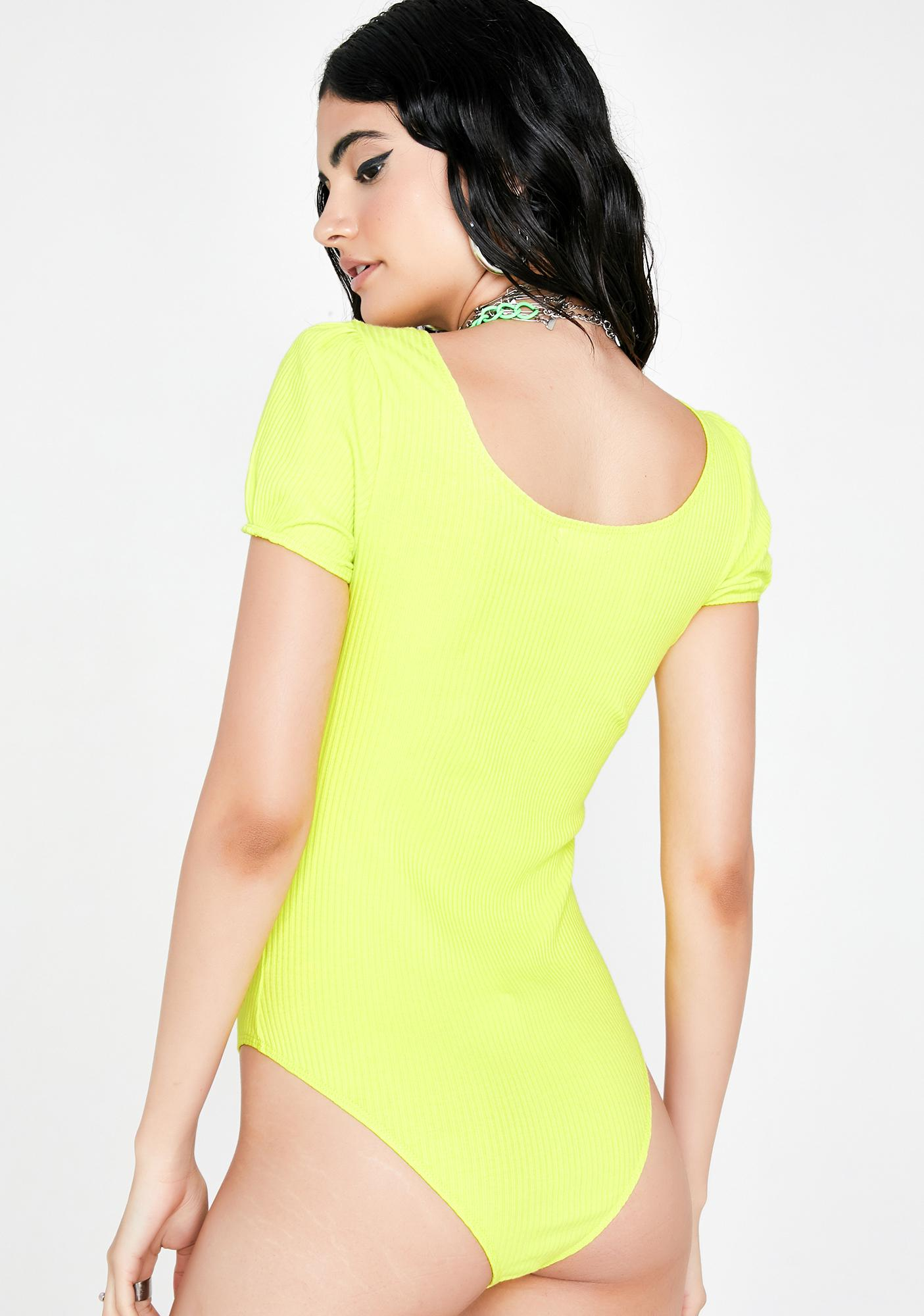 Neon Talk To The Hand Knit Bodysuit
