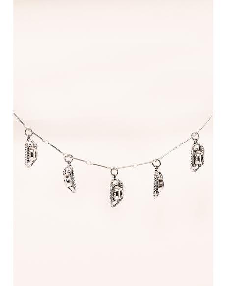 Silver Cowboy Hat Charm Necklace