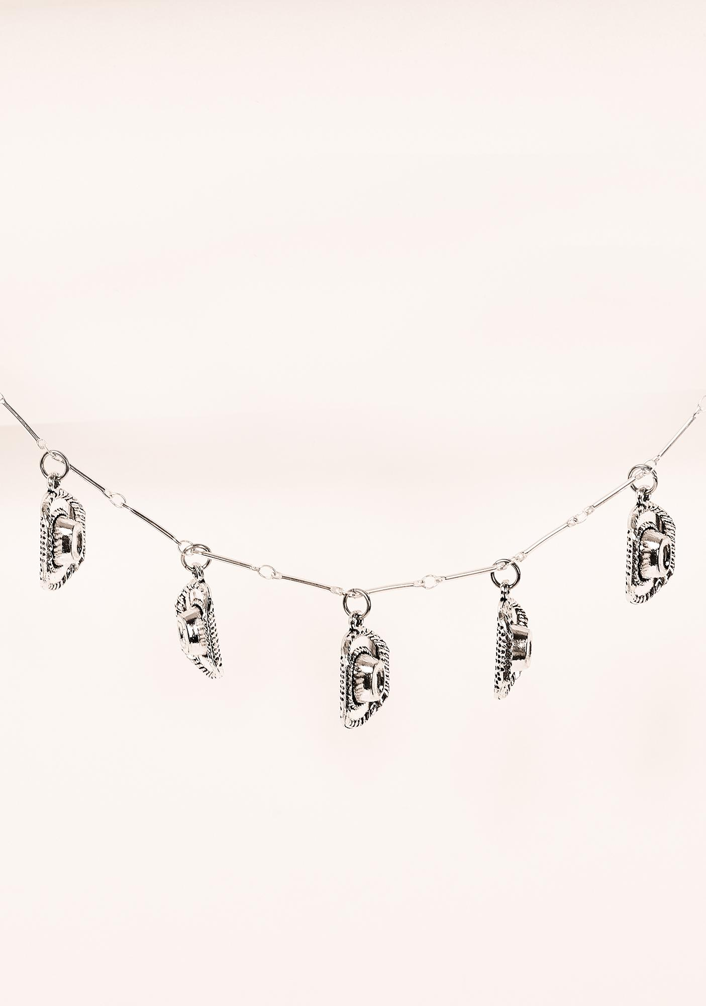 Desert Moon Silver Cowboy Hat Charm Necklace