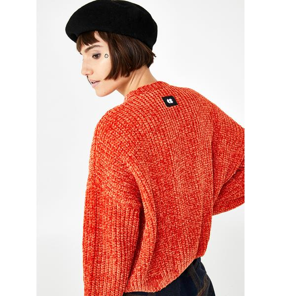 Lazy Oaf Orange Zip Up Cardigan