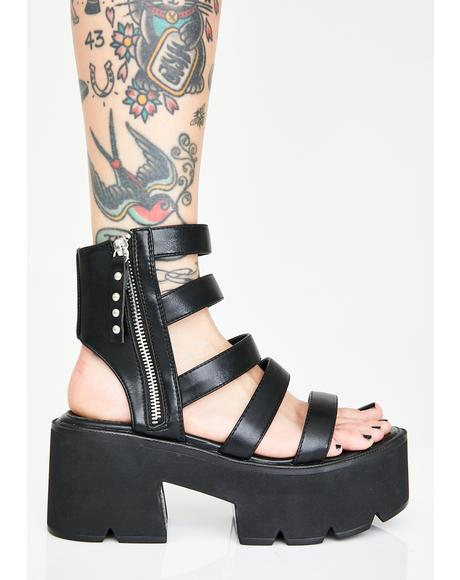 Midnight Scrapped Elevators Platform Sandals
