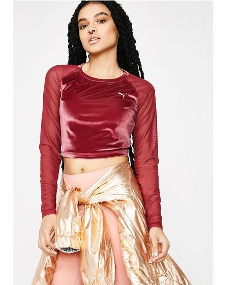 Explosive Long Sleeve Velvet Crop Top
