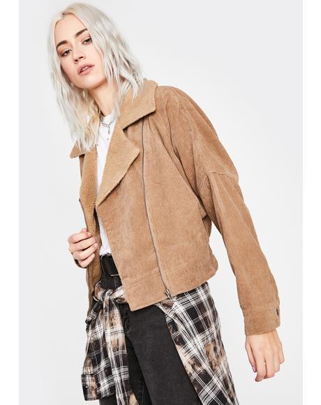 Beige Corduroy Babe Moto Jacket