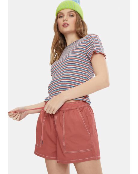 Terracotta Slash Pocket Shorts