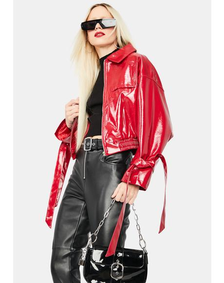 Cherry Untamed Love Vegan Leather Bomber Jacket