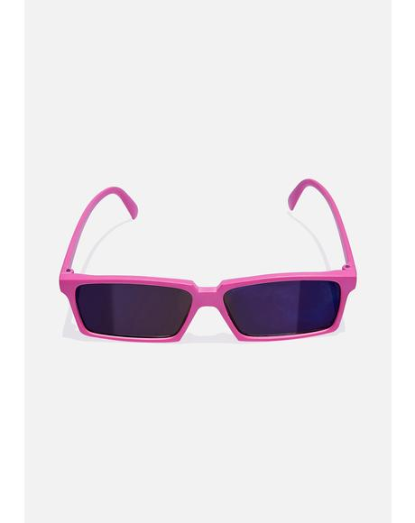 Pink Rear View Square Sunglasses
