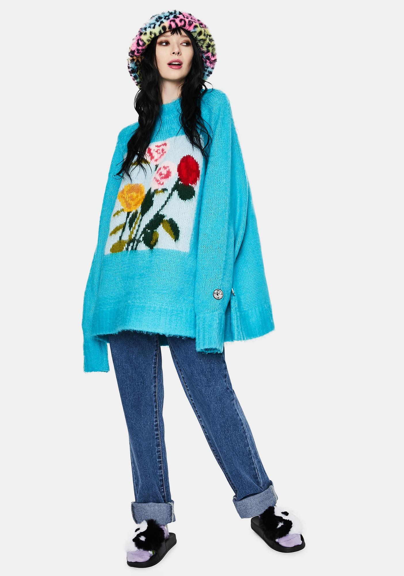 Little Sunny Bite x Charlotte Mei Flower Big Knit Sweater