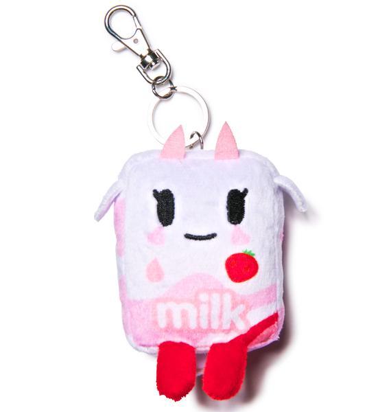 Tokidoki Strawberry Milk Moofia Plush Keychain