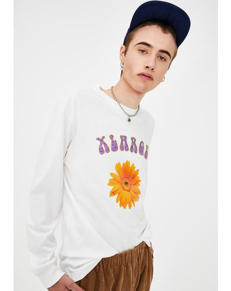 White Flower Long Sleeve Graphic Tee