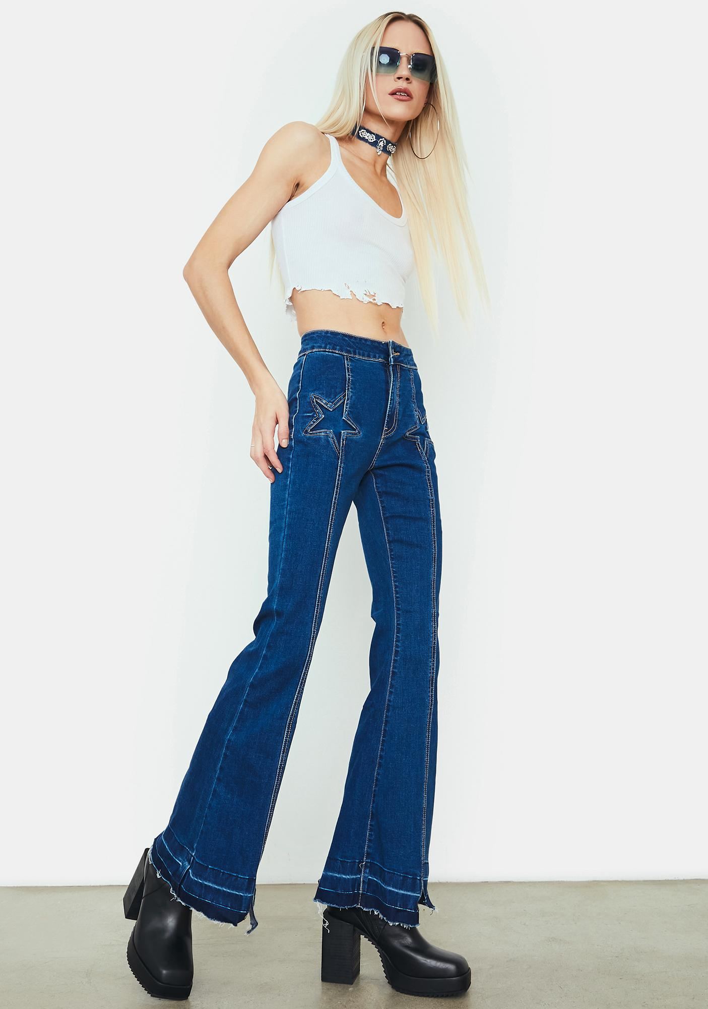 Speed Of Light Star Patch Flare Jeans