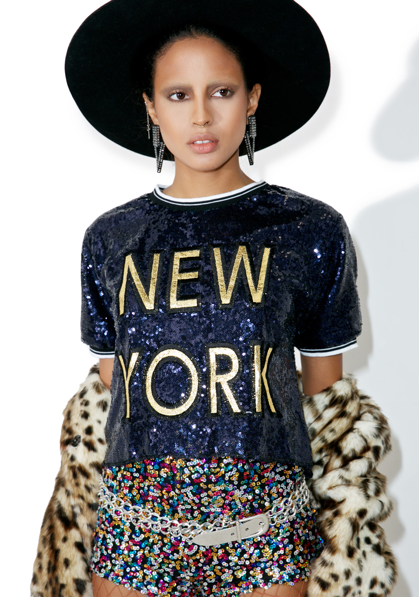 Black New York Sequin Shirt
