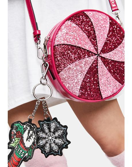 Peppermint Swirl Glitter Crossbody Bag