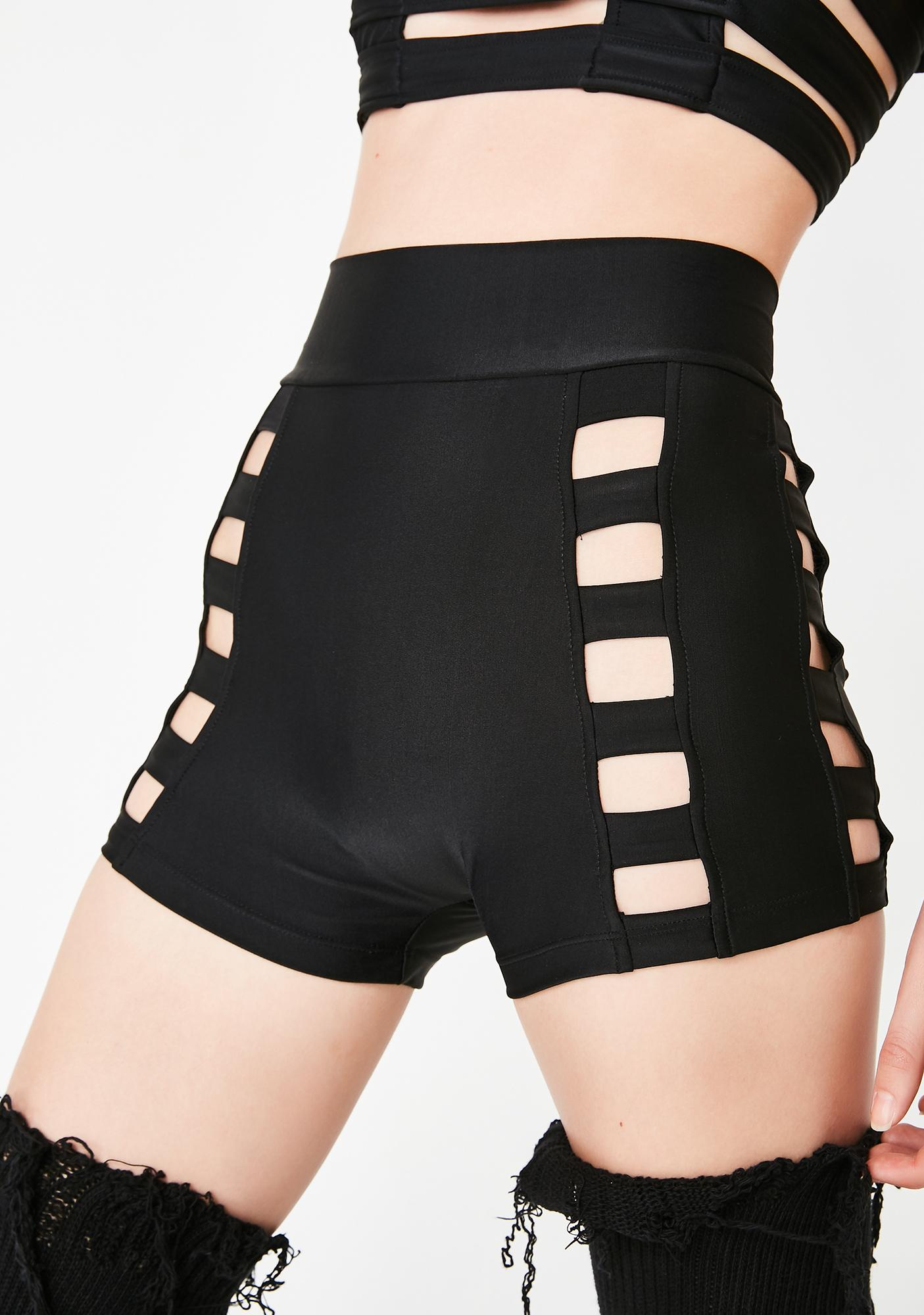 Five and Diamond Black Cage Shorts
