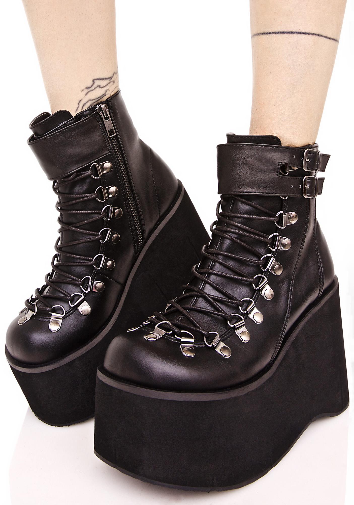 Demonia Kera Lace-Up Platform Boots