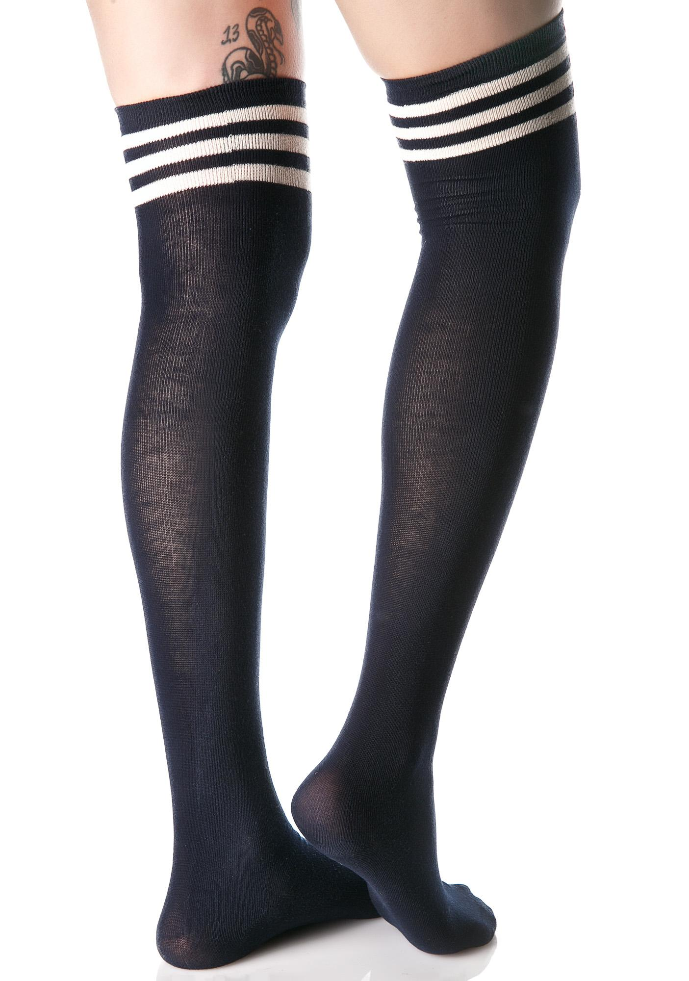Navy Kickin It Thigh High Socks