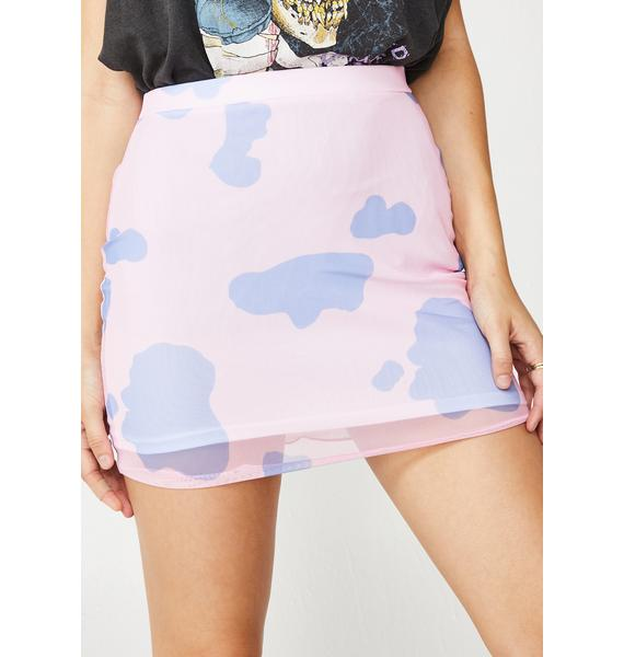 Daisy Street Cow Print Mesh Skirt