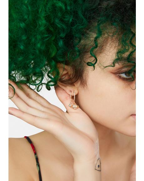 Gold Head In The Sky Celestial Diamante Earring Set