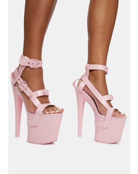 X Pink Patent Bondage Platform Heels