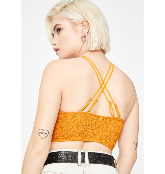 Free People Yellow Miss Dazie Crochet Bralette
