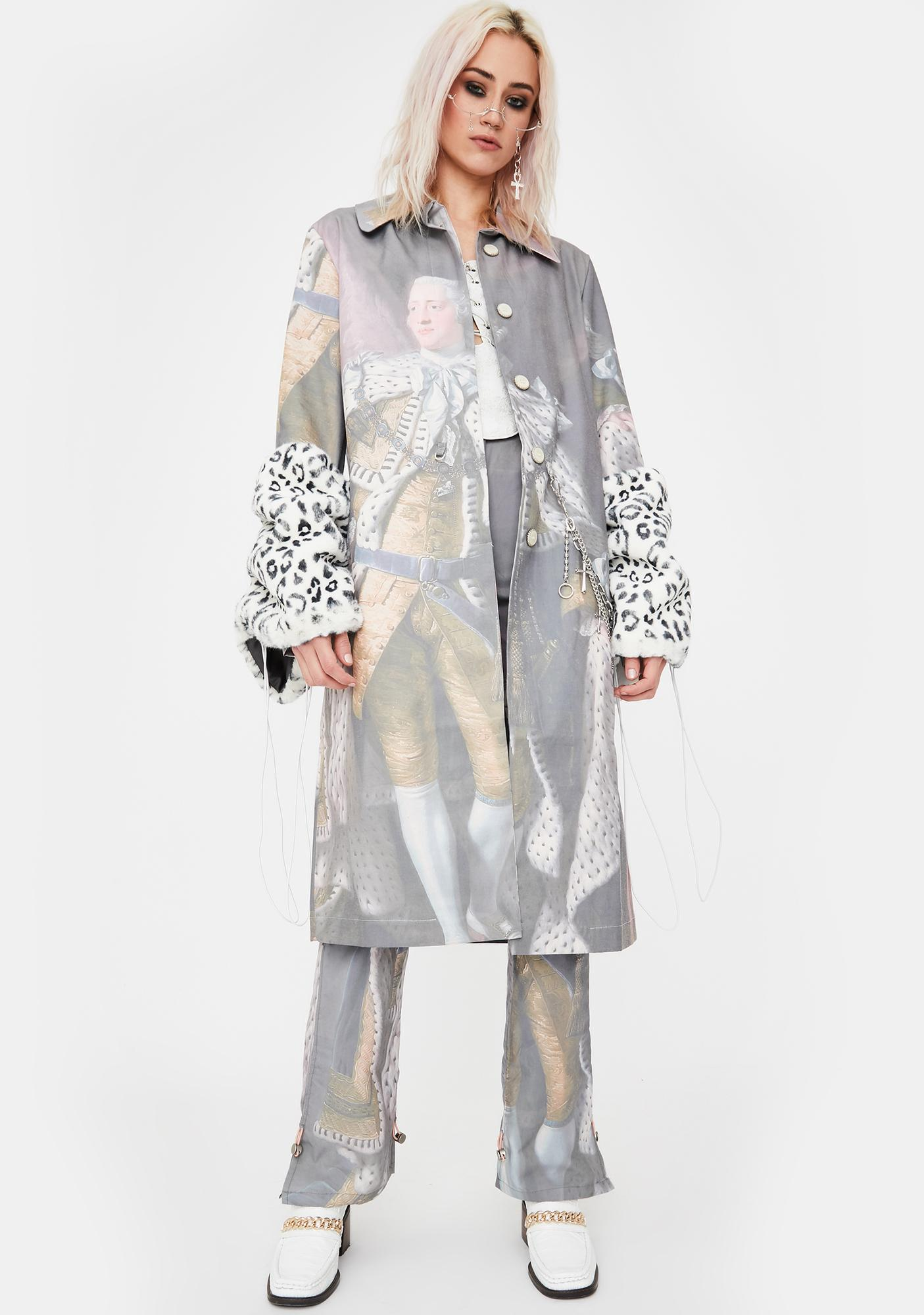 No Dress George III Print Trench Coat