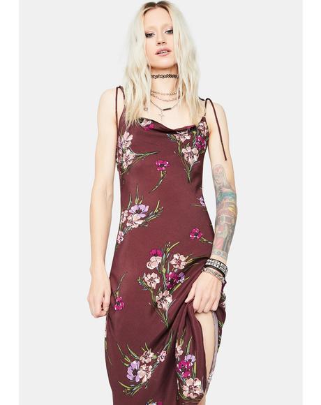 Cocoa Delicate Pleasures Floral Tie Shoulder Midi Dress