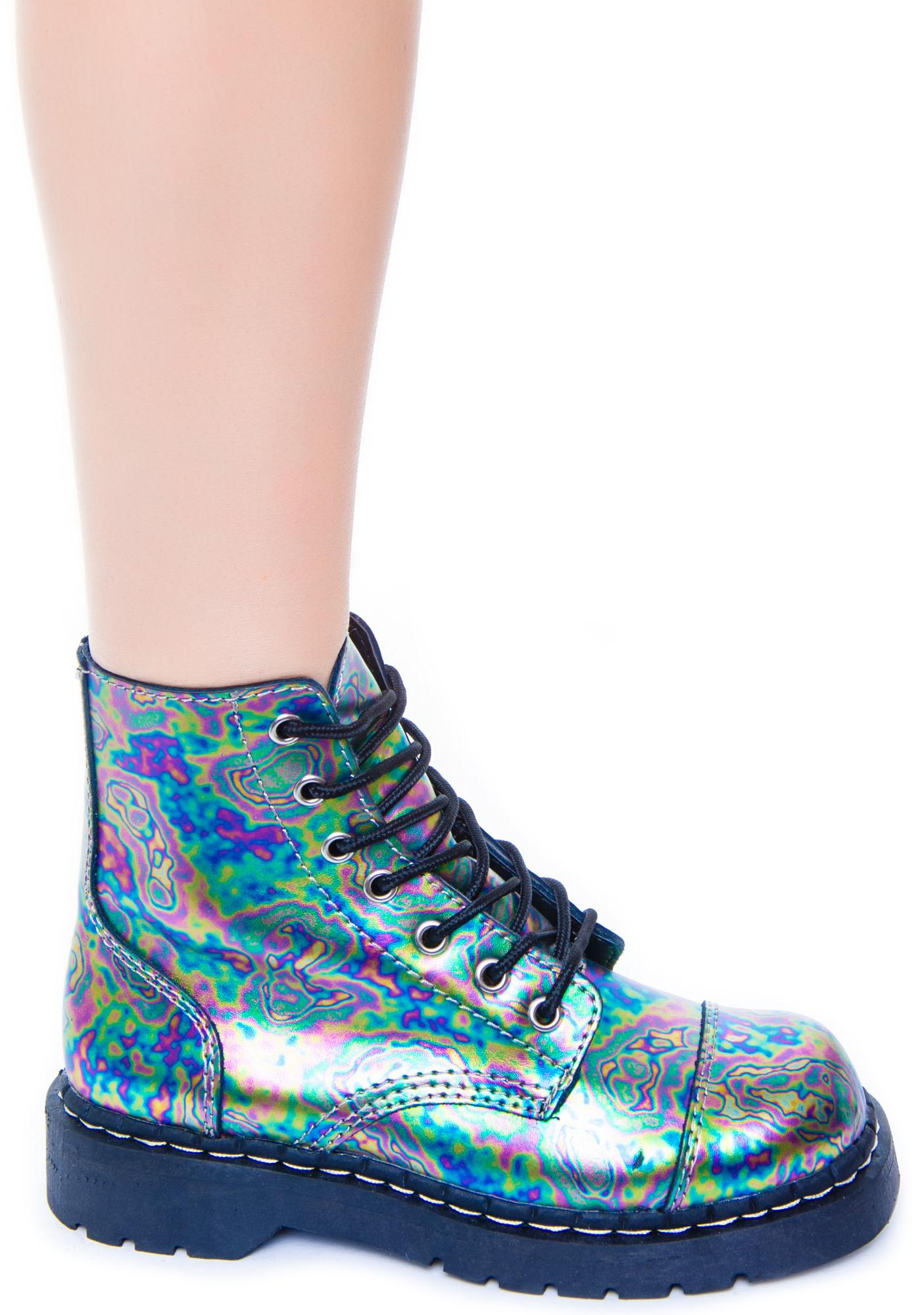 T.U.K. Oil Slick Leather 7 Eye Boot