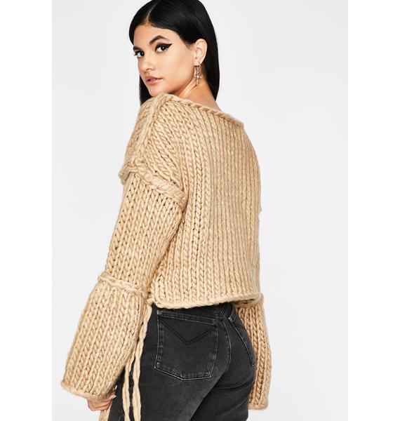 Pumpkin Spice Vibez Chunky Knit Sweater