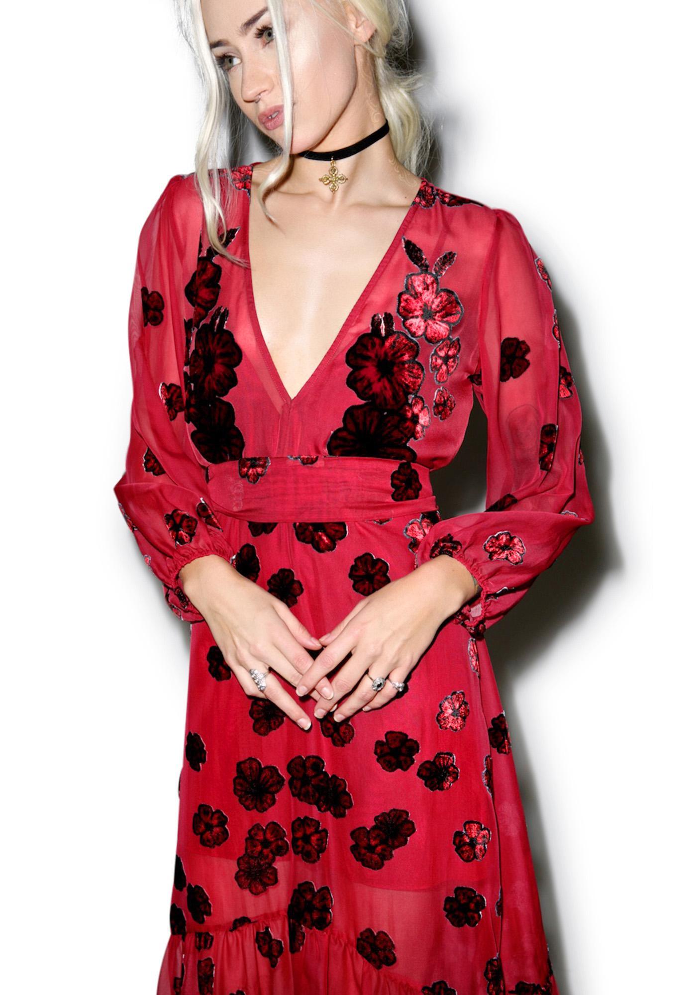 For Love & Lemons Sierra Scarf Midi Dress