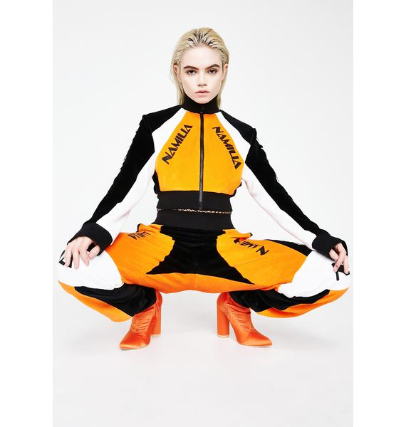 Namilia Orange Velour Motocross Crop Jacket