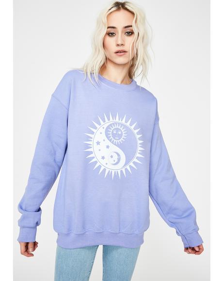 Yin Yang Sun Print Oversized Sweatshirt