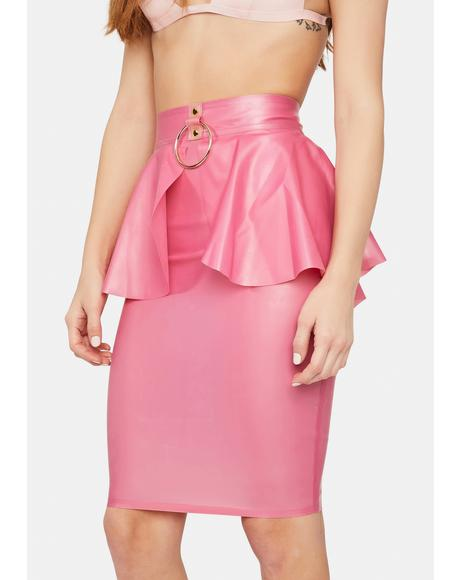 X Betty Page Pink Latex Peplum Ring Skirt