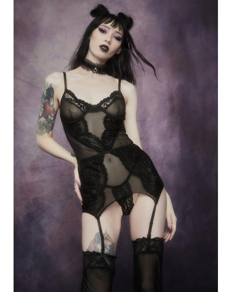 Ravens Wing Lace And Mesh Chemise Set